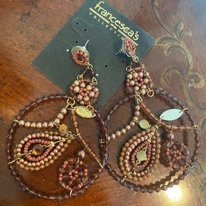 Francesca's Brown & Gold large beaded earrings